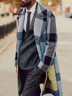 Color Block Button Mid-Length Single-Breasted Casual Coat