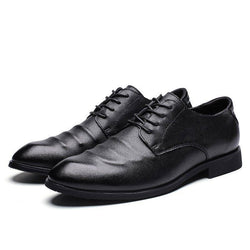 Plain Low-Cut Upper Pointed Toe Leather Shoes