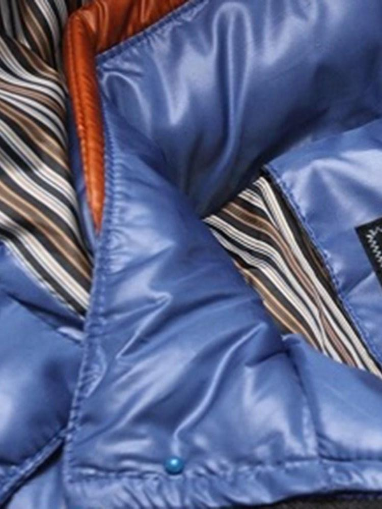 Color Block Standard Patchwork European Zipper Down Jacket