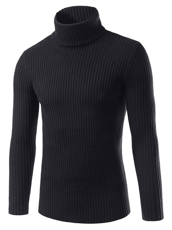 Standard Heap Collar Plain Slim Fall Sweater