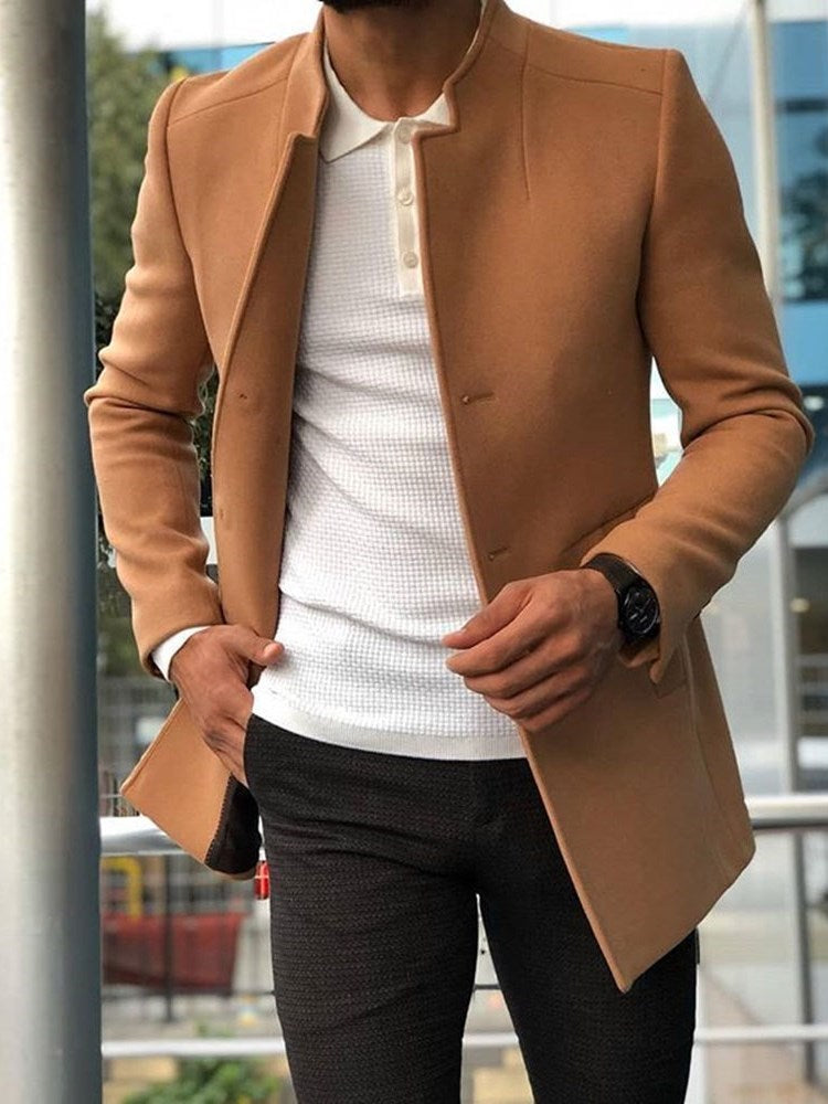 Mid-Length Button Plain Casual Fall Coat