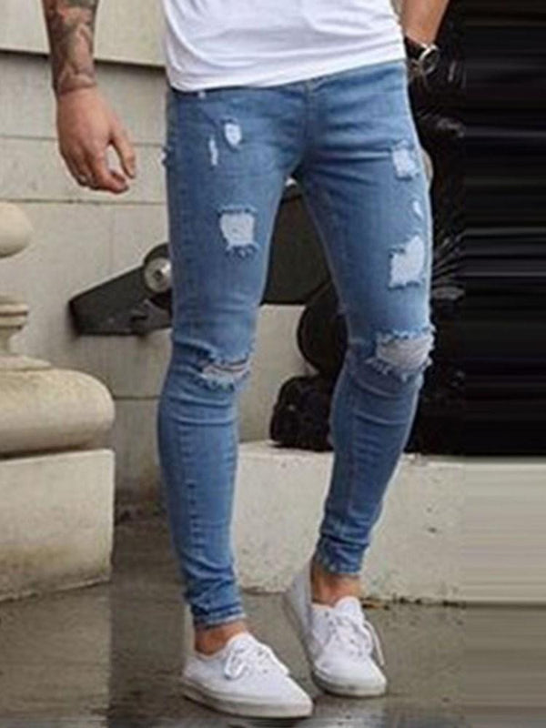 Plain Pencil Pants Hole Casual Mid Waist Jeans