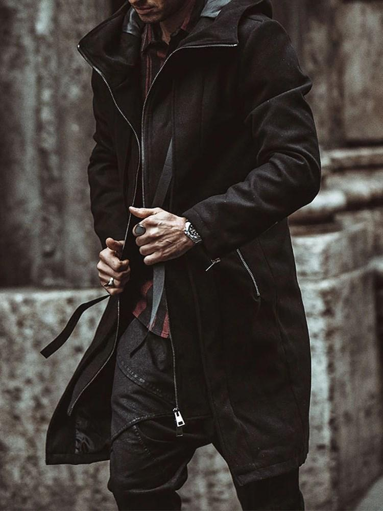 Hooded Mid-Length Plain Winter A Line Coat