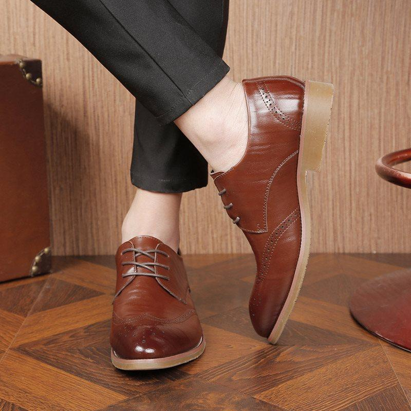 Low-Cut Upper Plain Pointed Toe PU Leather Shoes