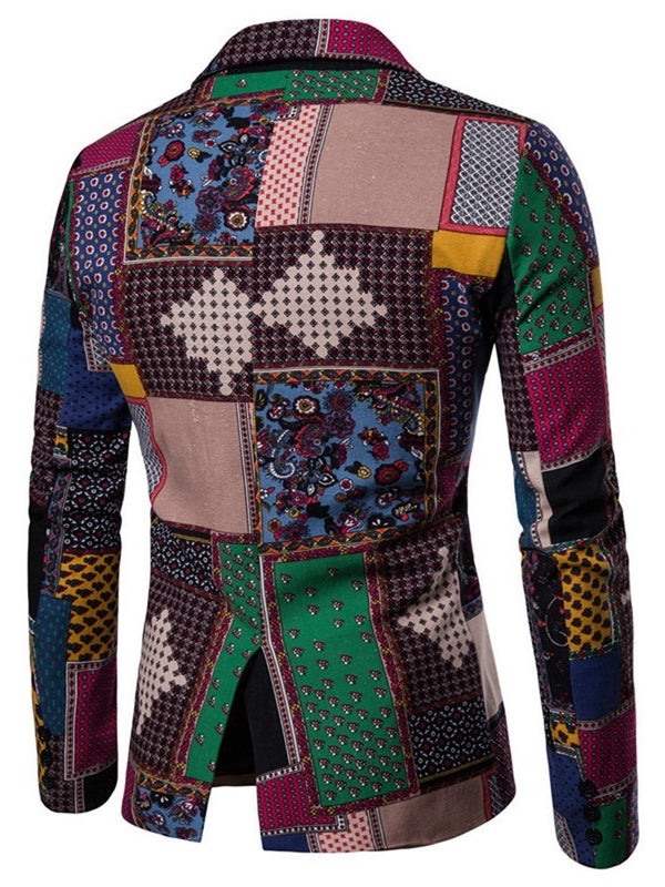 Patchwork Color Block Single-Breasted leisure Suit