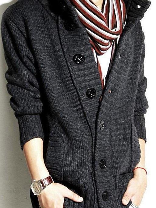 Stand Collar Standard Single-Breasted Fall Sweater