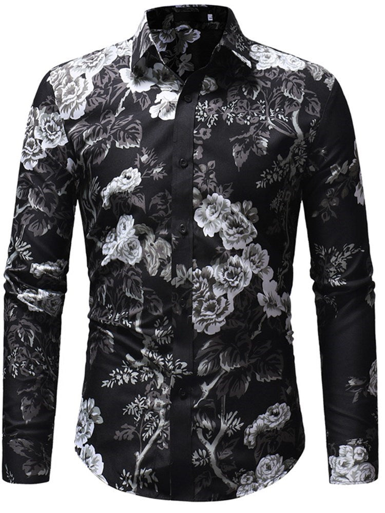 Casual Lapel Print Single-Breasted Fall Shirt