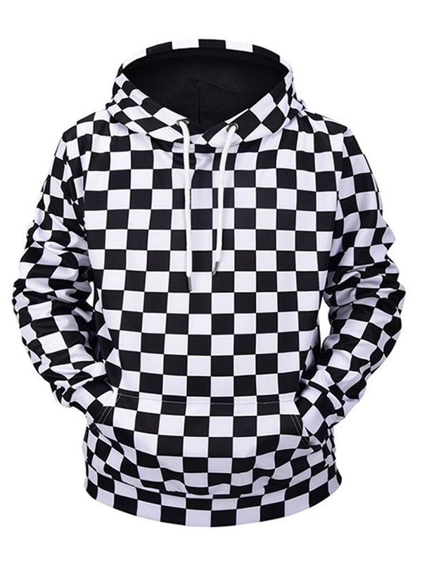 Plaid Pullover Hooded Loose Hoodies