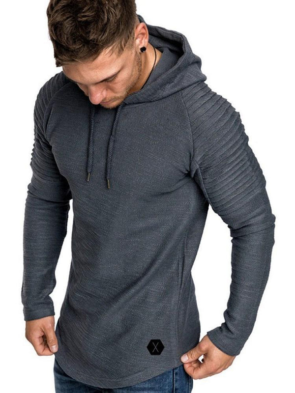 Plain Pleated Pullover Hooded Pullover Hoodies