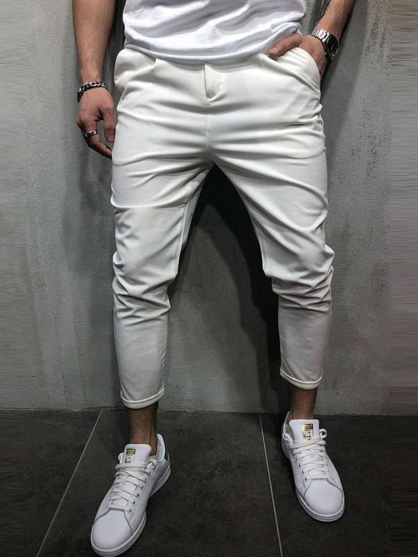 Plain Pencil Pants Button Mid Waist Casual Pants