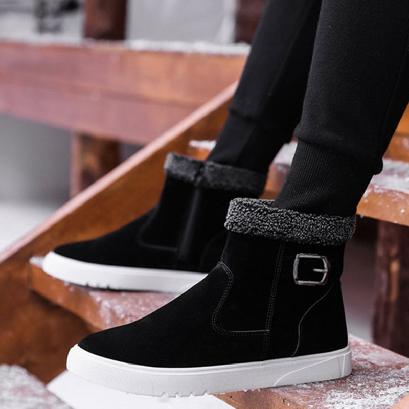 Slip-On Plain Round Toe PU Boots