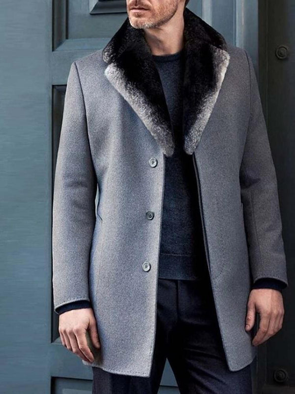 Color Block Button Mid-Length Casual Winter Coat
