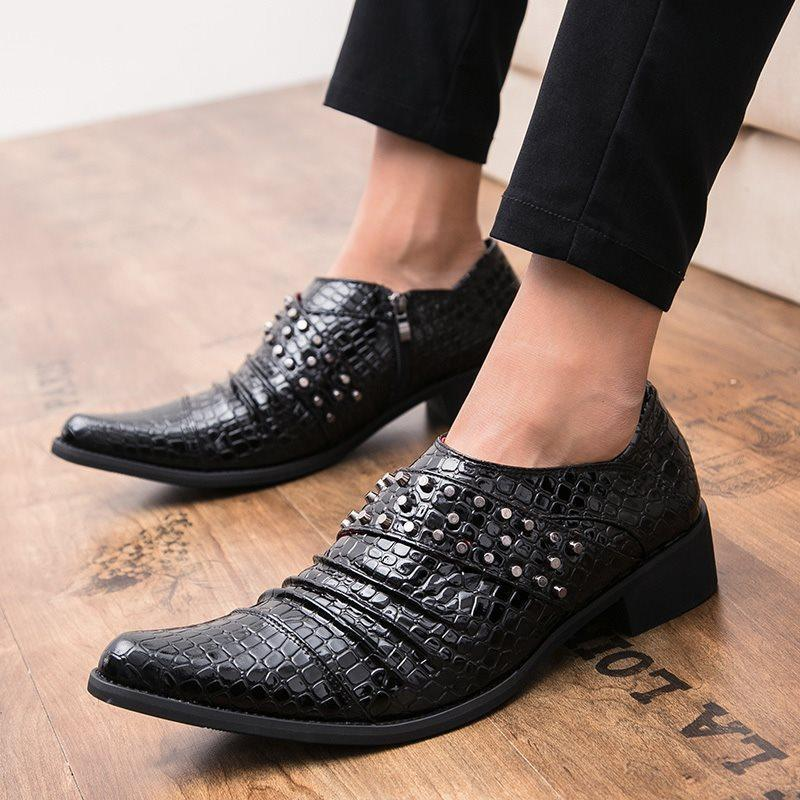 Low-Cut Upper PU Pointed Toe Leather Shoes