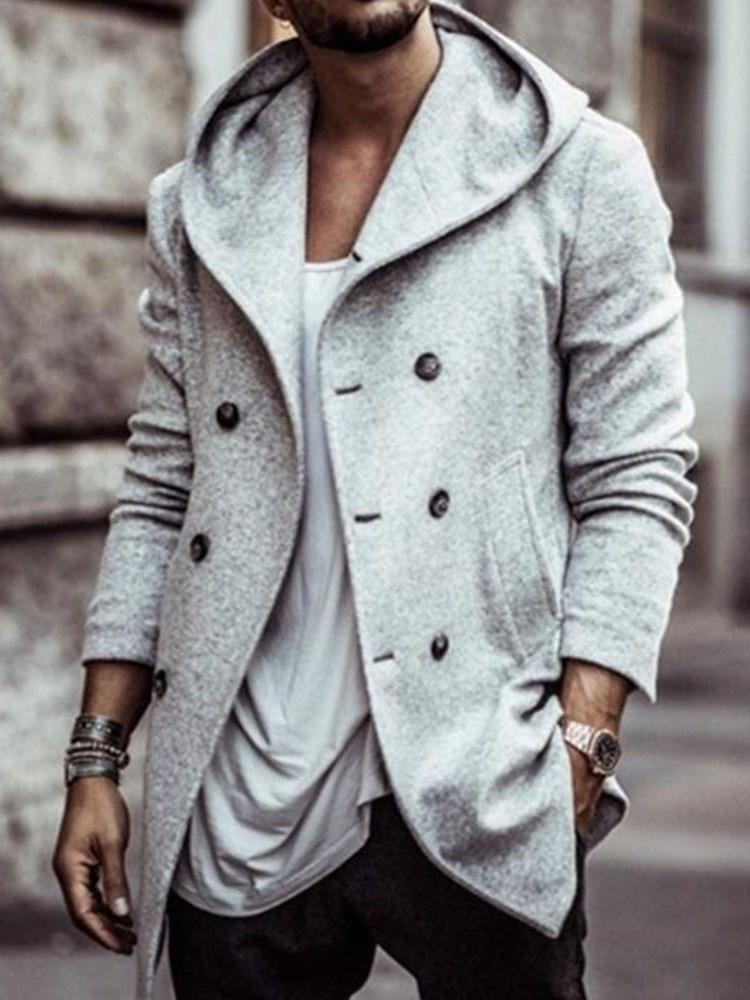 Mid-Length Plain Hooded A Line Fashion Coat
