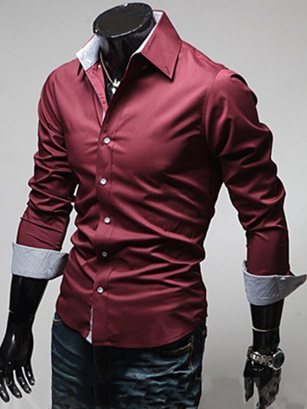 Casual Plain Lapel Spring Slim Shirt