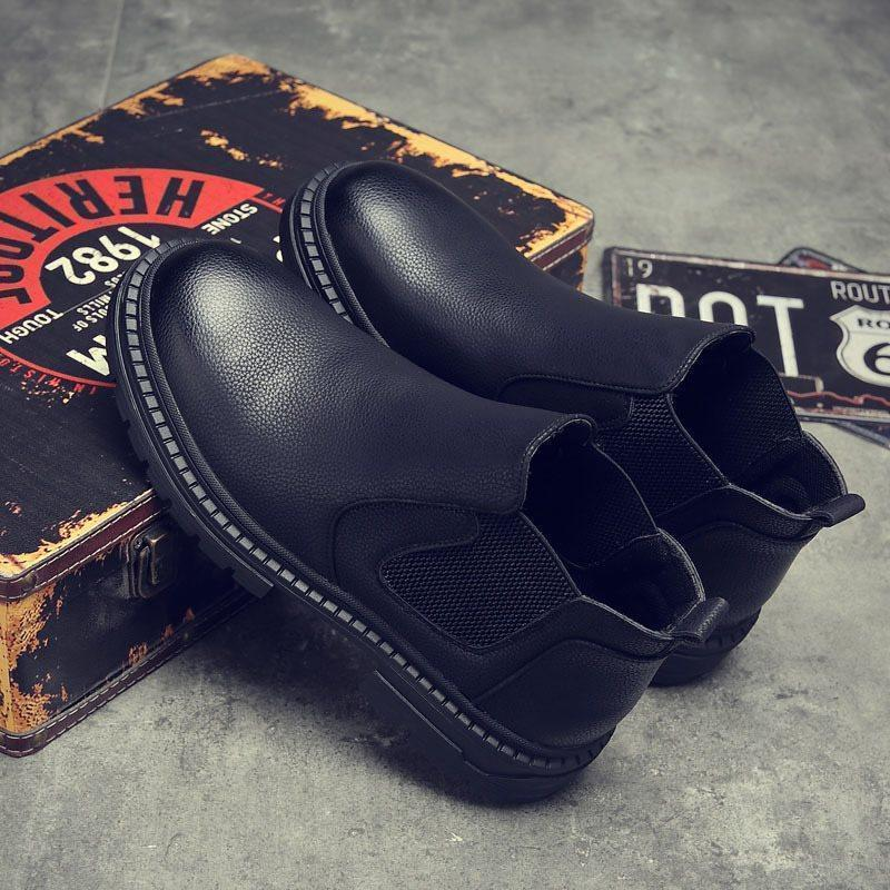 Round Toe Patchwork Hidden Elevator Heel Slip-On PU Boots