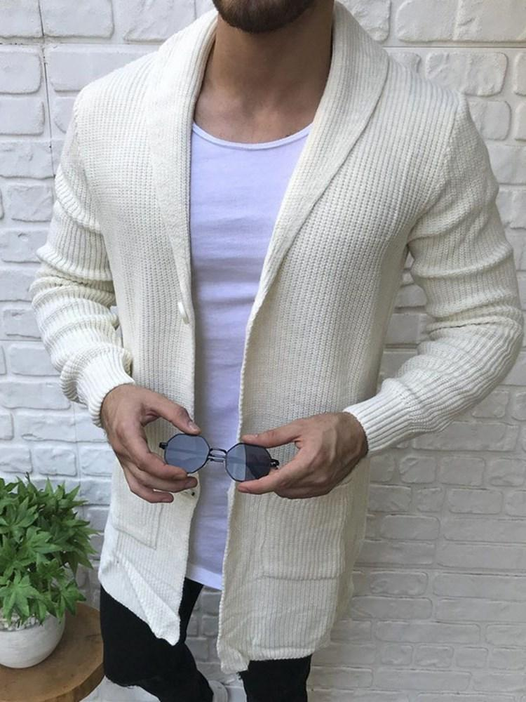 Button Mid-Length Plain Single-Breasted Loose Sweater