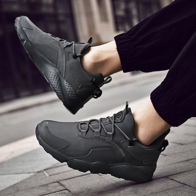 Mid-Cut Upper Lace-Up Round Toe Lace-Up Sneakers