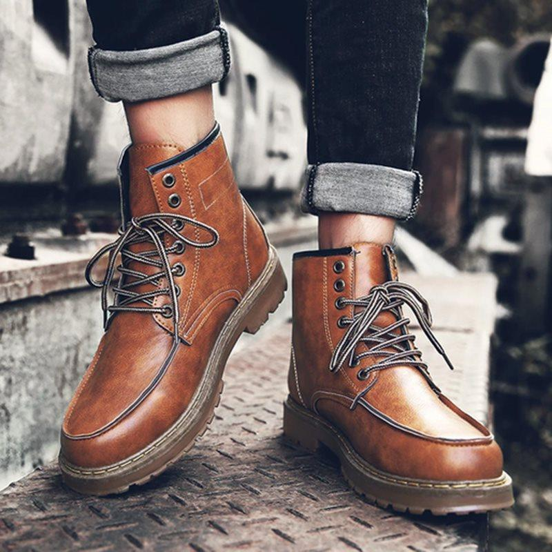 Lace-Up Front Color Block Round Toe Boots