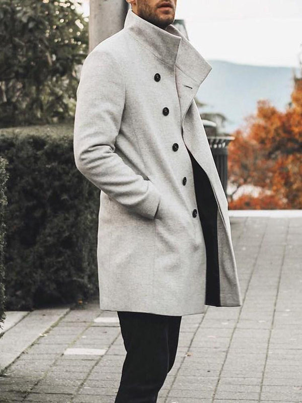 Plain Mid-Length Pocket Fashion Fall Coat