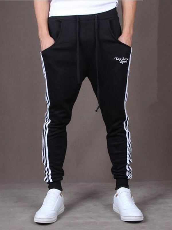 Print Letter Lace-Up Mid Waist Casual Pants