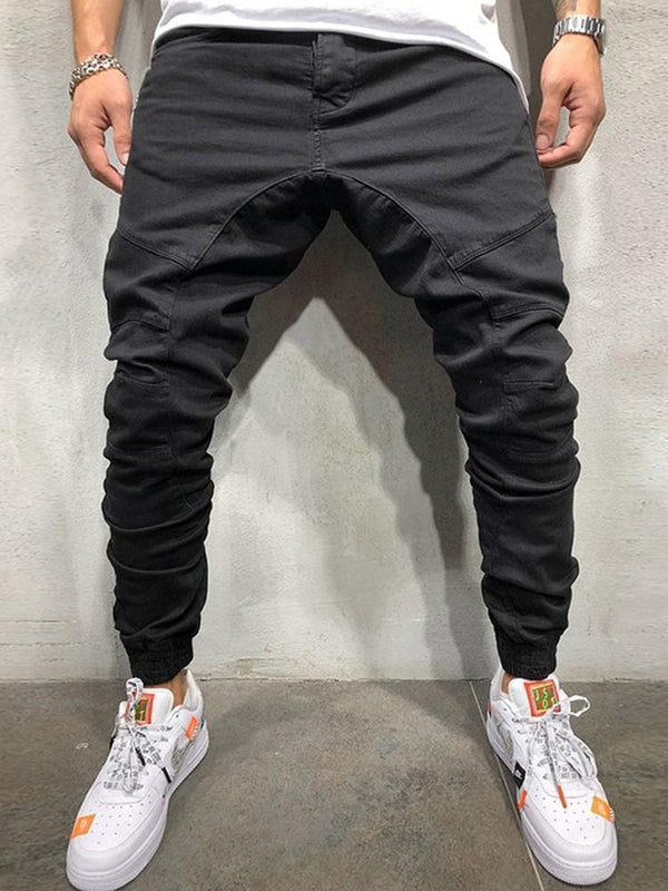 Plain Pocket Mid Waist Hip Hop Casual Pants