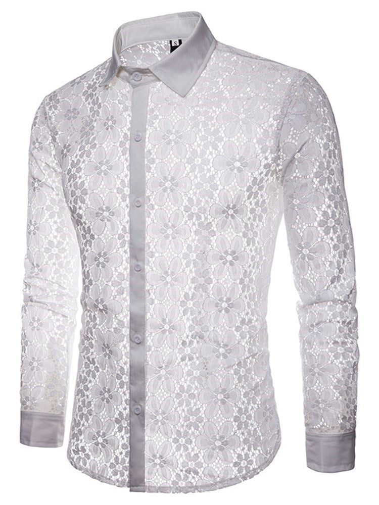 Plain Lace Lapel Single-Breasted Spring Shirt