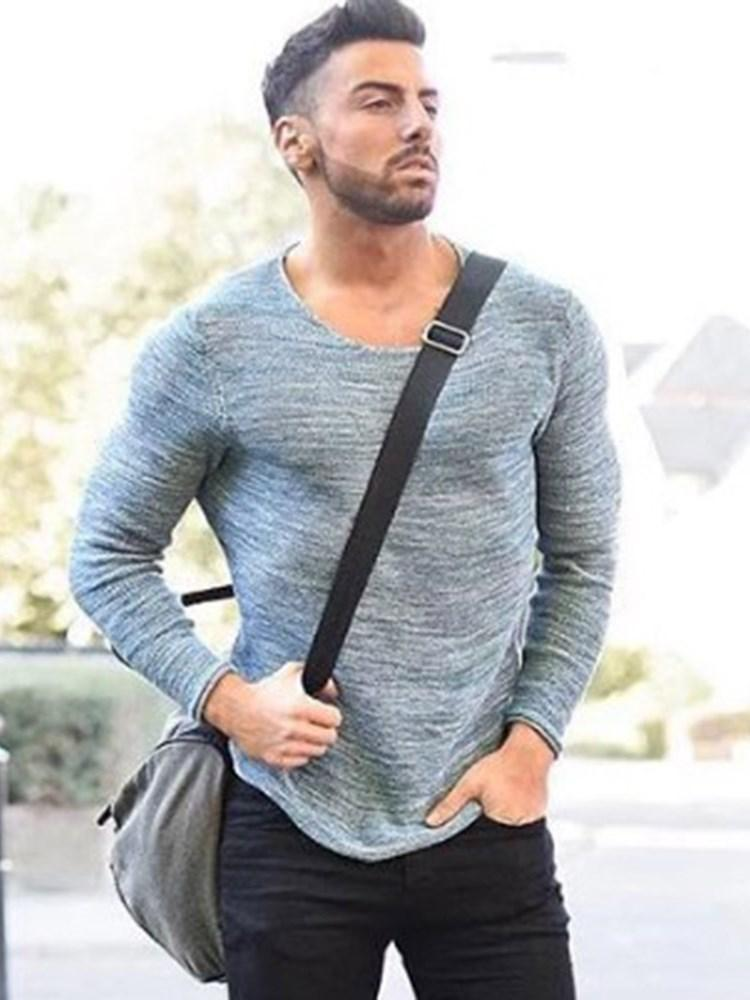 Round Neck European Slim Long Sleeve T-shirt