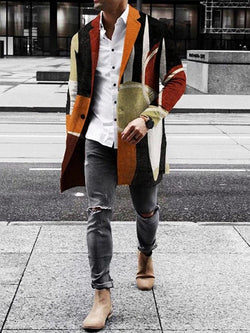 Color Block Button Mid-Length One Button Casual Coat