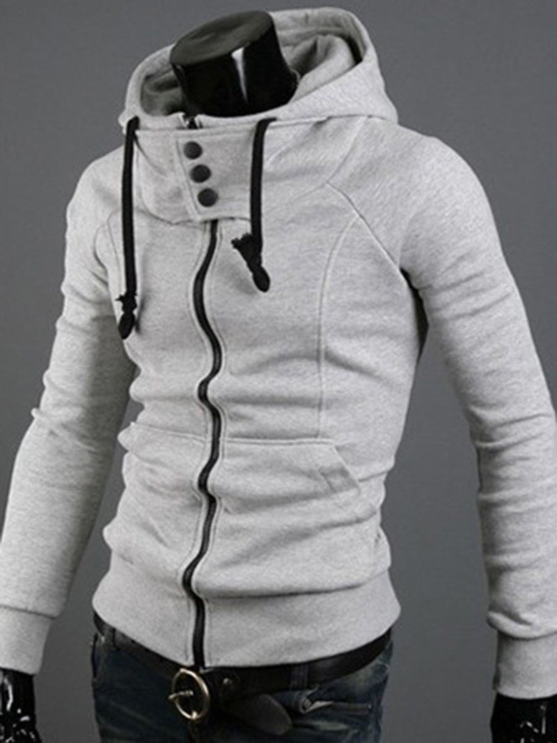 Plain Cardigan Pocket Zipper Fall Hoodies