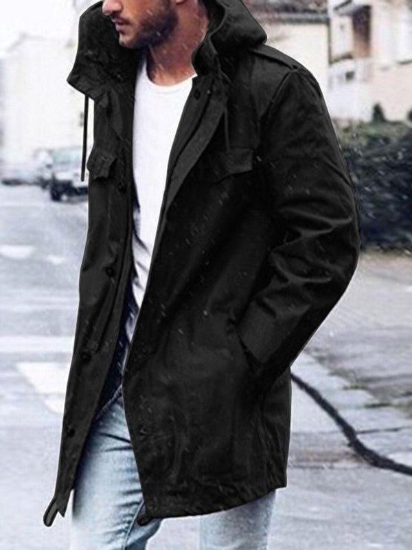 Mid-Length Plain Pocket Casual Zipper Trench Coat