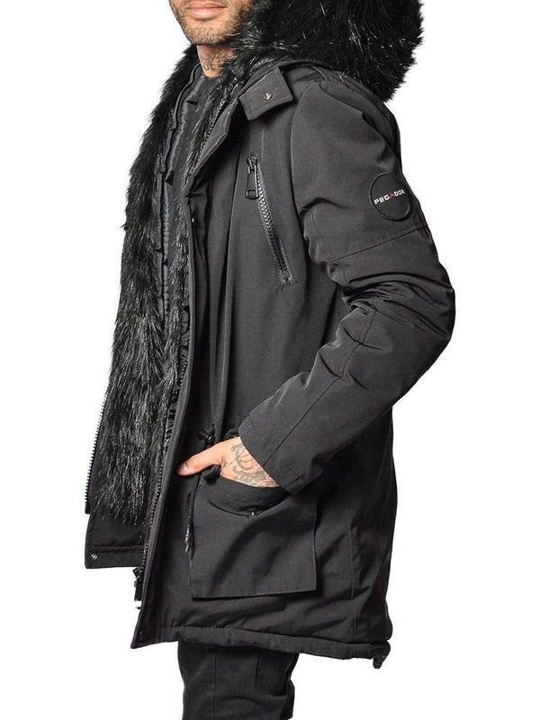 Color Block Patchwork Hooded Casual Zipper Down Jacket