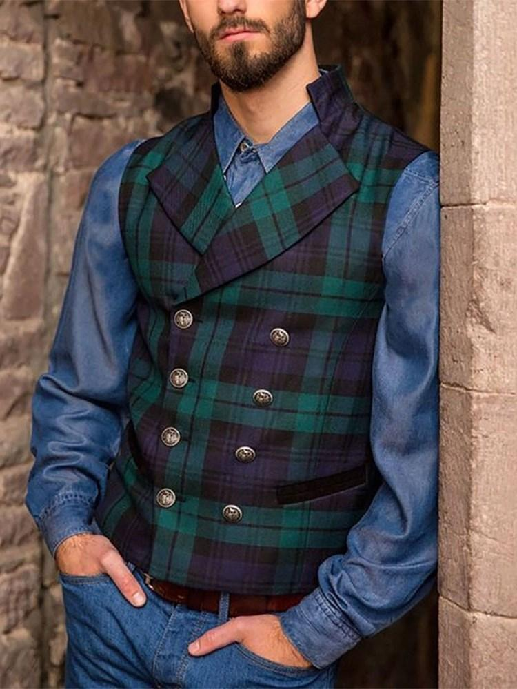 Plaid Print Fashion Double-Breasted Waistcoat