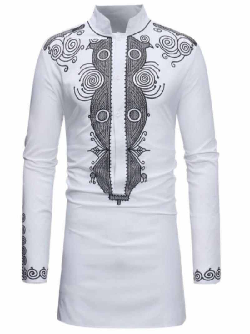 Plain African Ethnic Style Stand Collar Slim Shirt