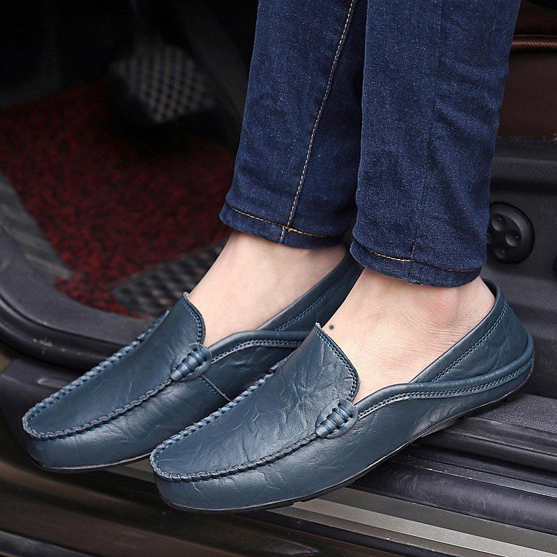 Flat With Low-Cut Upper Plain Round Toe PU Leather Shoes