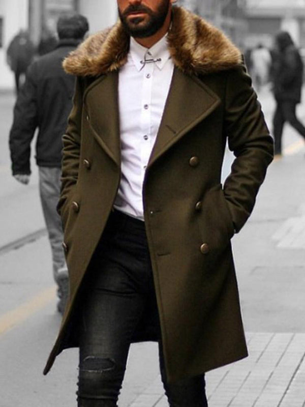 Plain Button Long Fashion Fall Coat