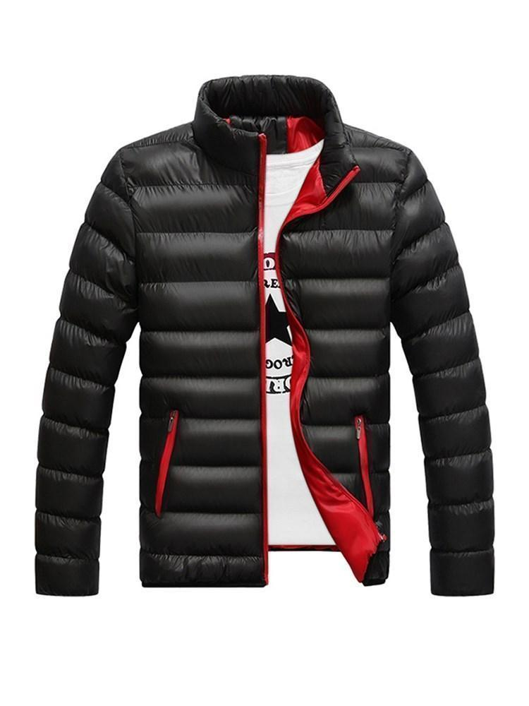 Standard Color Block Stand Collar Casual Zipper Down Jacket