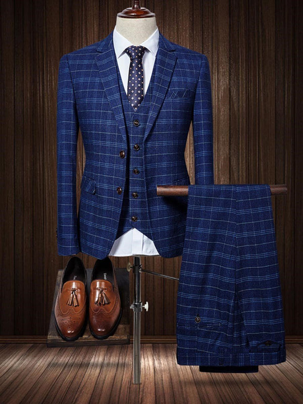 Vest Plaid Dress Suit