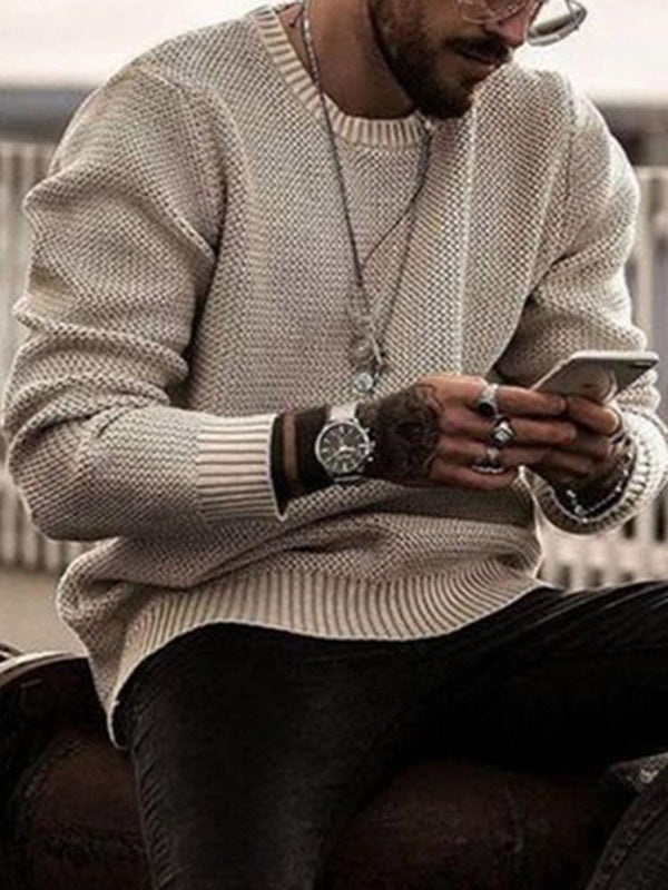 Round Neck Plain Mid-Length Winter Casual Sweater