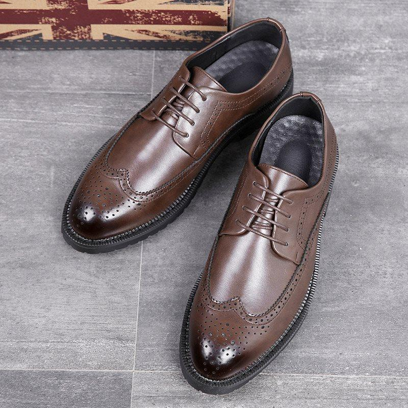 Plain Low-Cut Upper PU Round Toe Leather Shoes