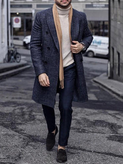 Plain Mid-Length Button Straight Winter Coat