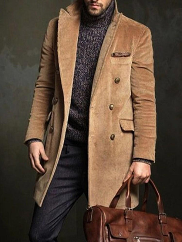 Mid-Length Plain Button Winter Double-Breasted Coat
