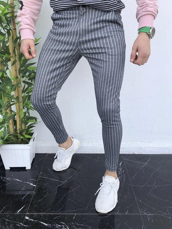 Pencil Pants Button Stripe Mid Waist Zipper Casual Pants