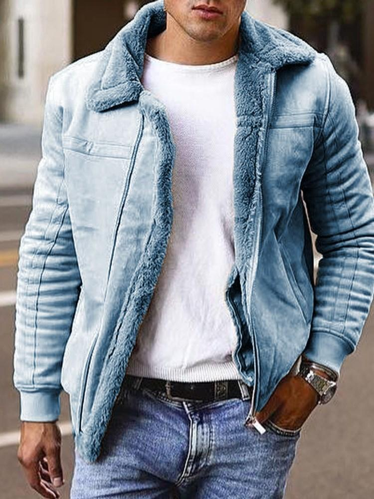 Lapel Patchwork Loose Winter Jacket