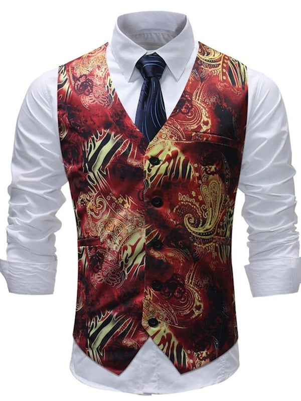 V-Neck Floral Button Fall OL Waistcoat