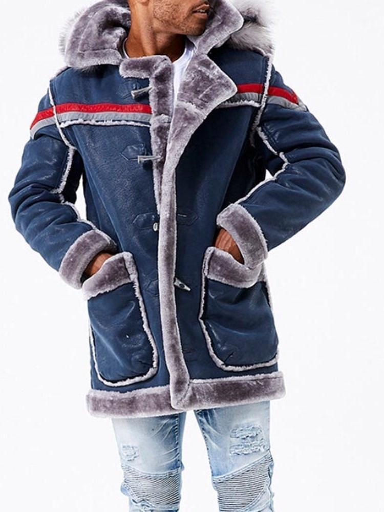 Patchwork Hooded Thick Straight Casual Jacket