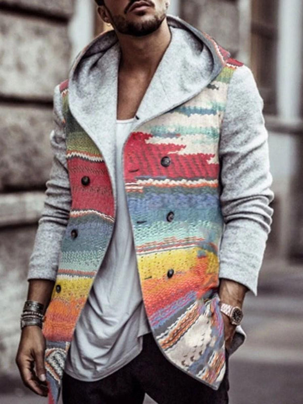 Button Color Block Mid-Length Double-Breasted Fashion Coat