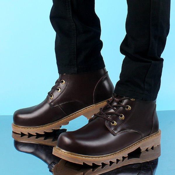 Lace-Up Front Round Toe Plain Boots