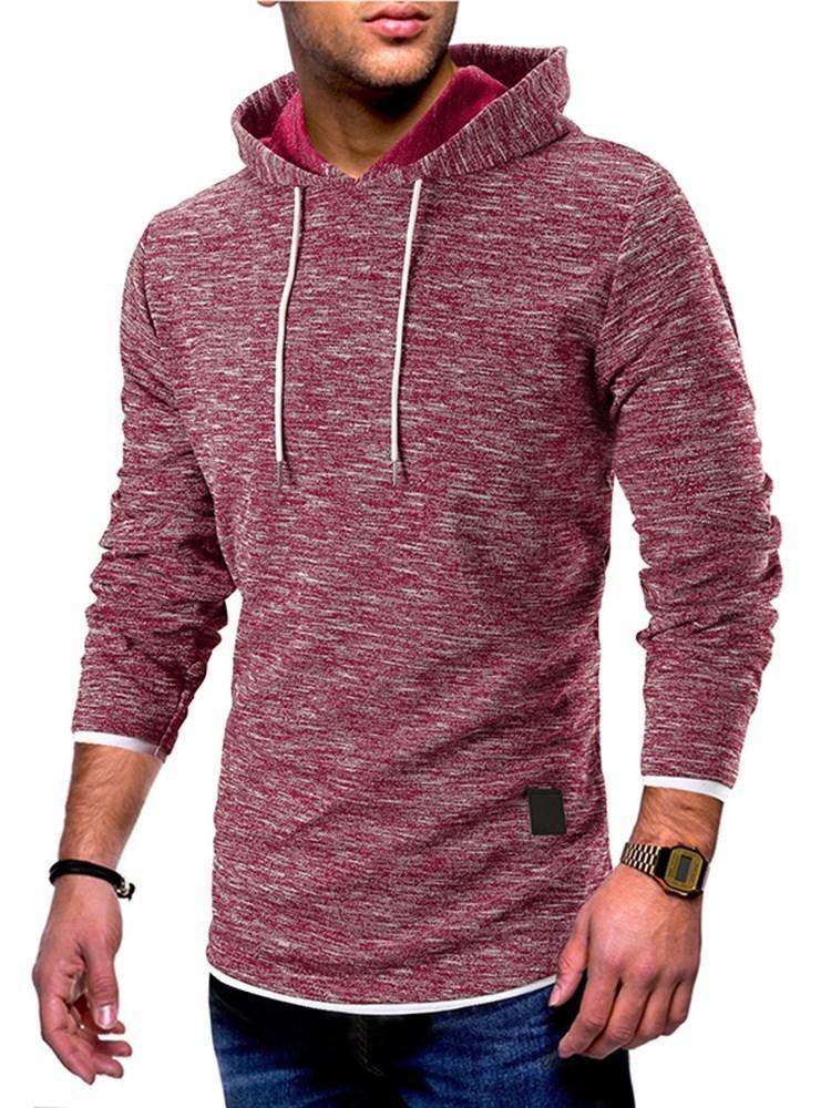 Pullover Patchwork Plain Hooded Pullover Hoodies