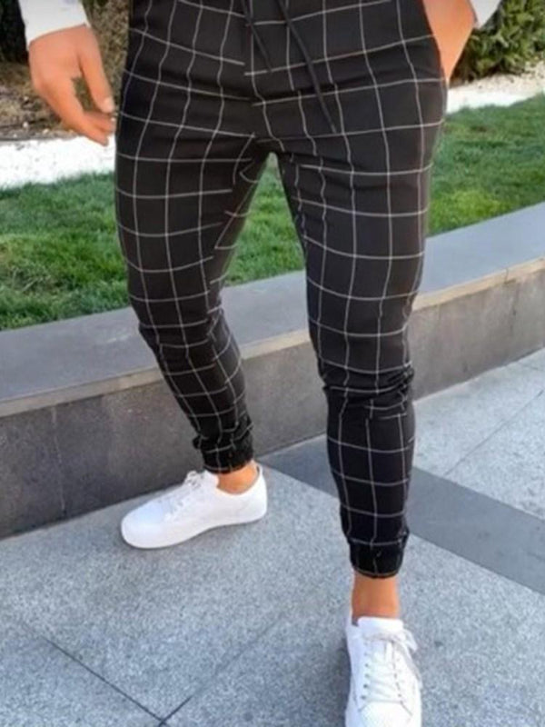 Plaid Lace-Up Thin Spring Lace-Up Casual Pants